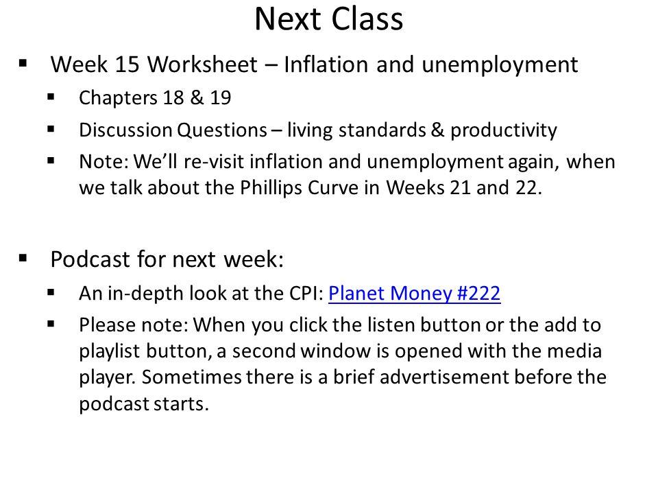 Next Class Week 15 Worksheet – Inflation and unemployment
