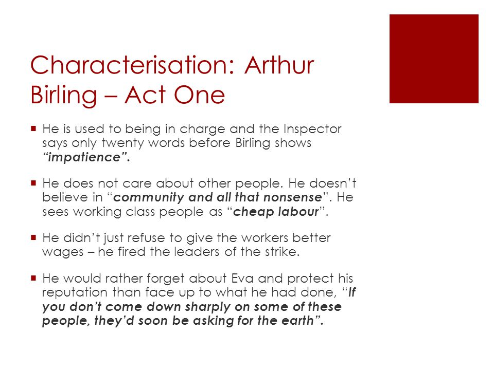 Characterisation: Arthur Birling – Act One