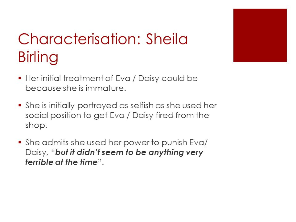Characterisation: Sheila Birling