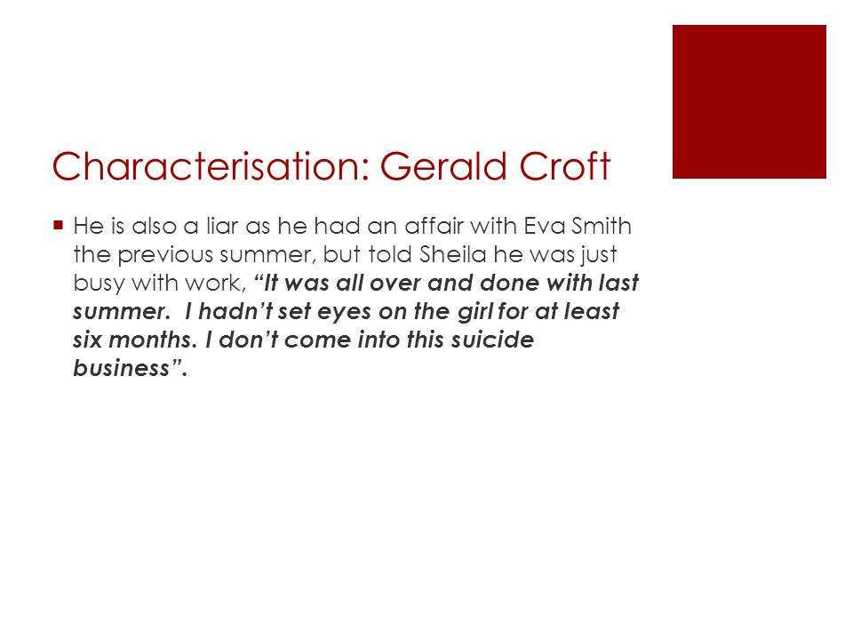 Characterisation: Gerald Croft