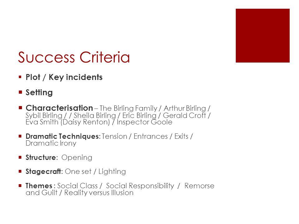 Success Criteria Plot / Key incidents Setting