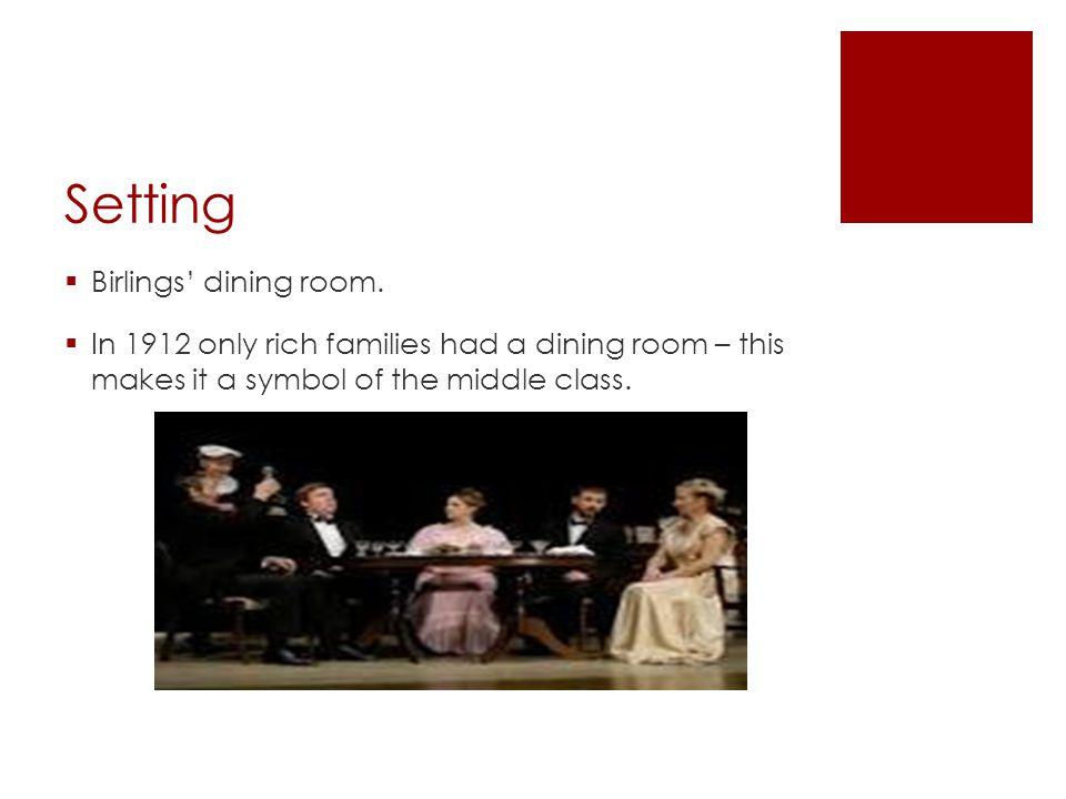 Setting Birlings' dining room.