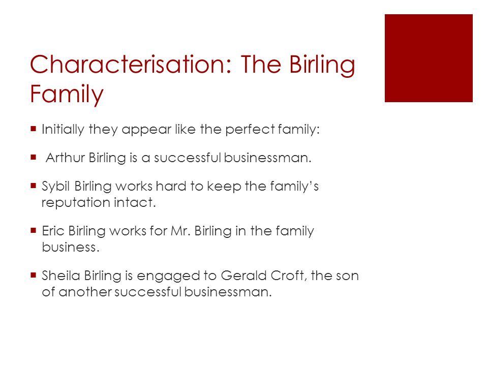 Characterisation: The Birling Family