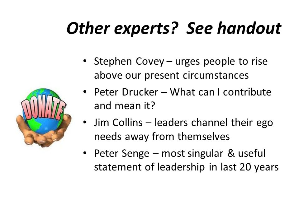 Other experts See handout