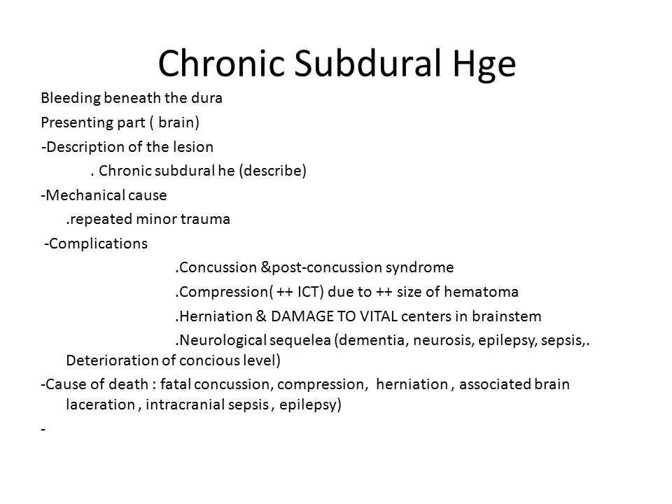 Chronic Subdural Hge
