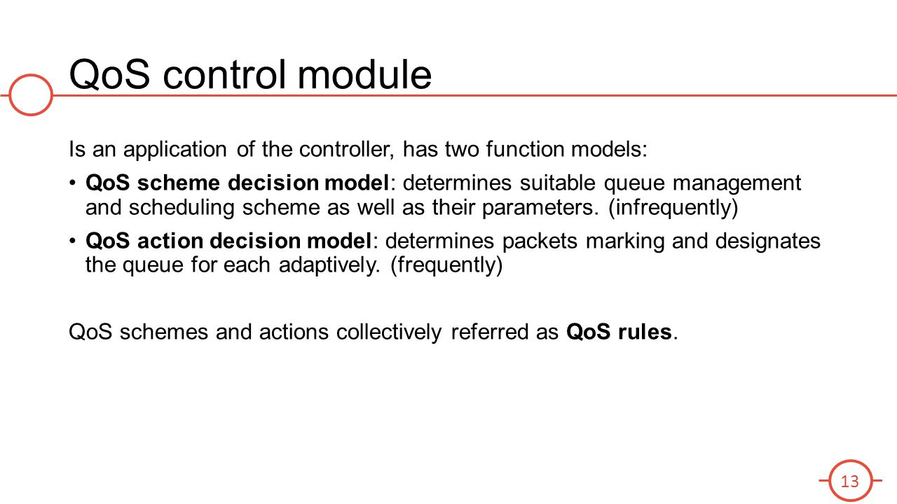 QoS control module Is an application of the controller, has two function models: