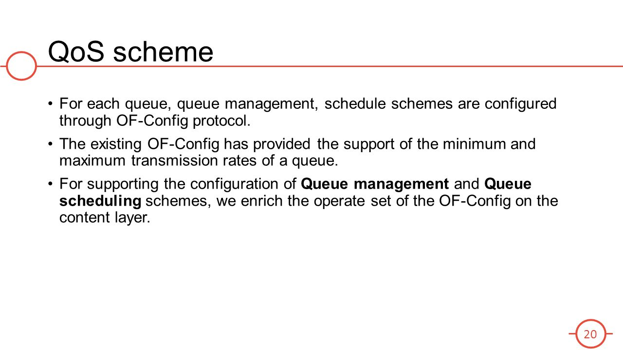 QoS scheme For each queue, queue management, schedule schemes are configured through OF-Config protocol.
