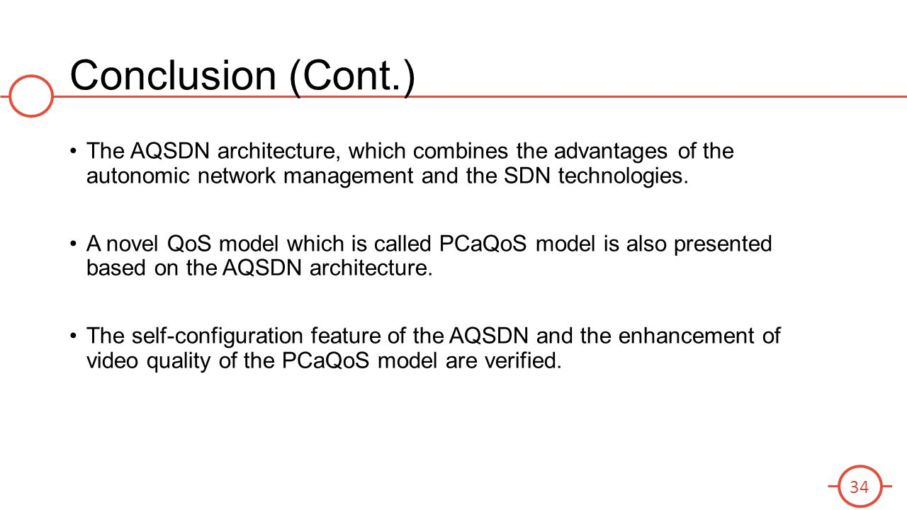 Conclusion (Cont.) The AQSDN architecture, which combines the advantages of the autonomic network management and the SDN technologies.