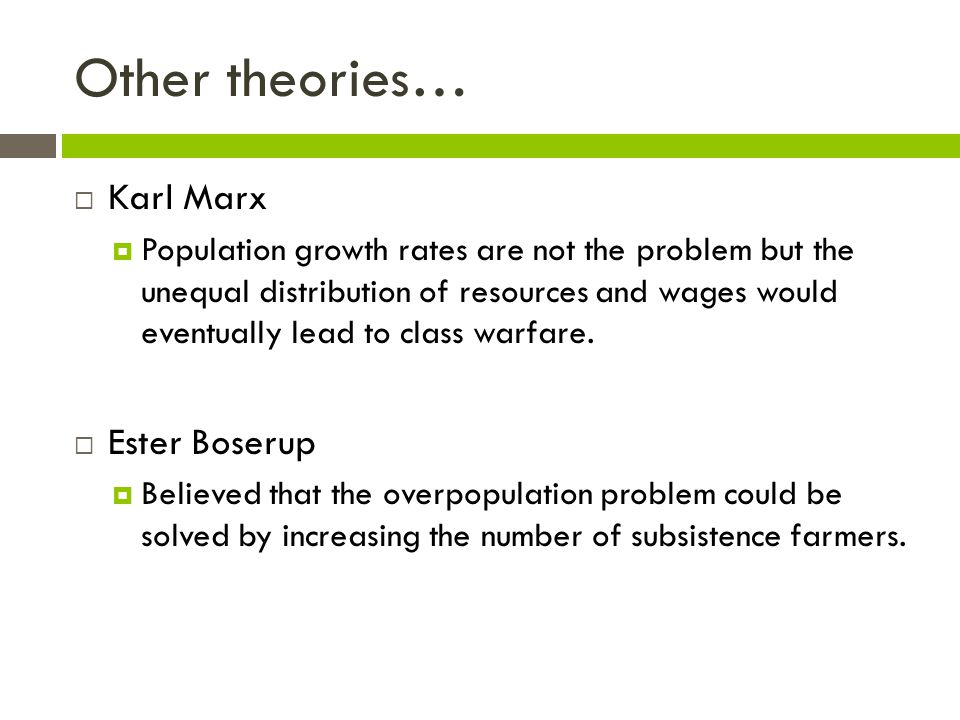 Other theories… Karl Marx Ester Boserup