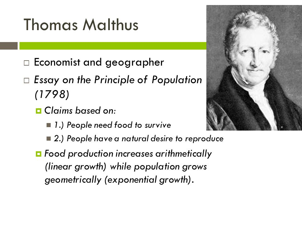 Thomas Malthus Economist and geographer
