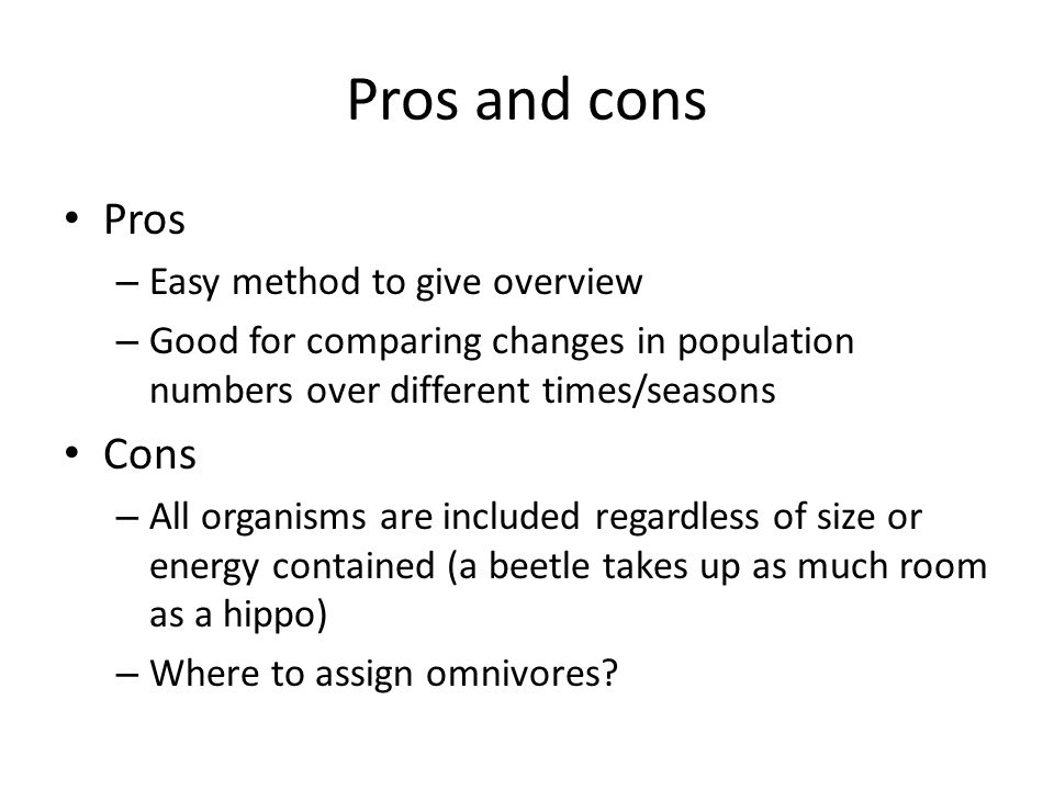 Pros and cons Pros Cons Easy method to give overview