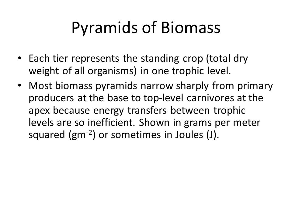 Pyramids of Biomass Each tier represents the standing crop (total dry weight of all organisms) in one trophic level.