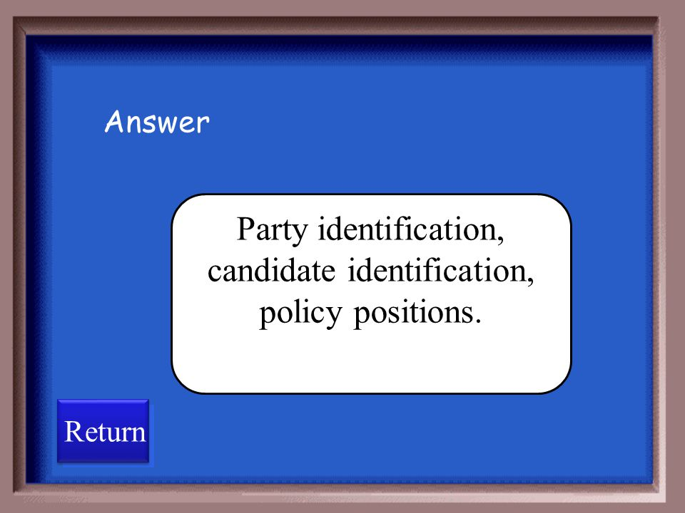 Party identification, candidate identification, policy positions.