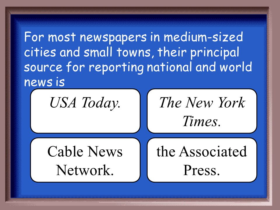 USA Today. The New York Times. Cable News Network.