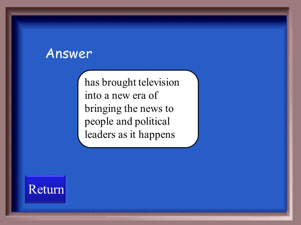 Answer has brought television into a new era of bringing the news to people and political leaders as it happens.