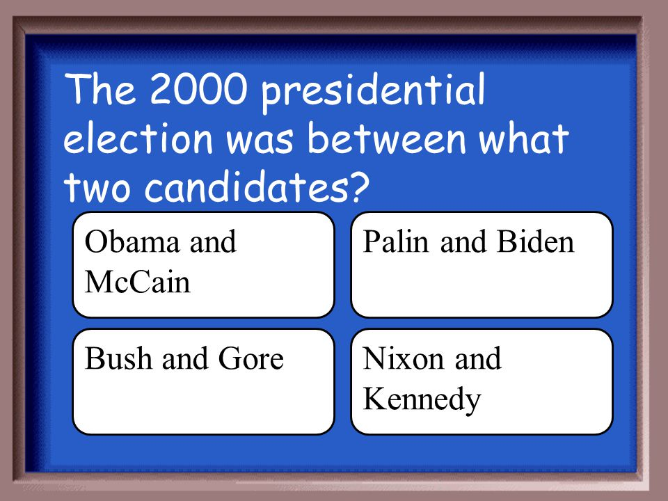 The 2000 presidential election was between what two candidates