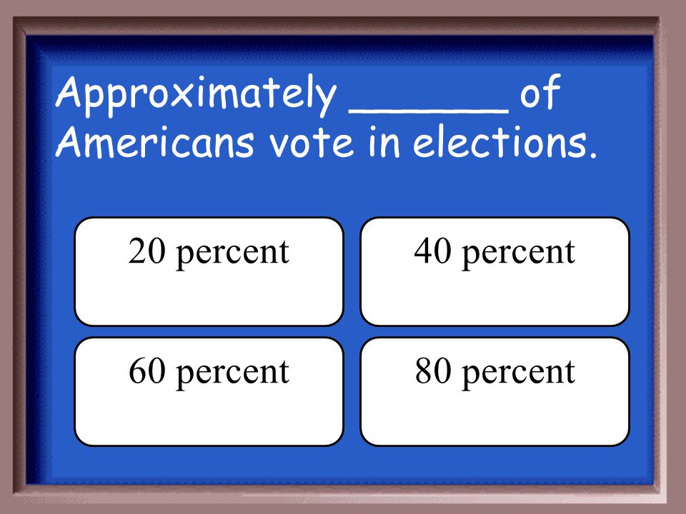 Approximately ______ of Americans vote in elections.