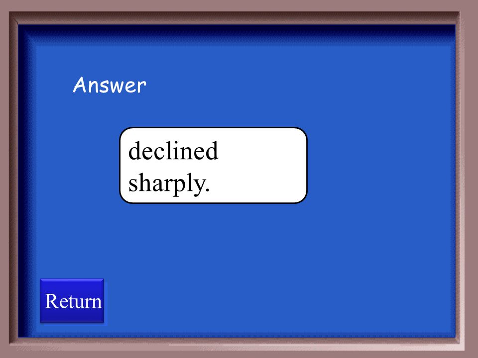 Answer declined sharply. Return
