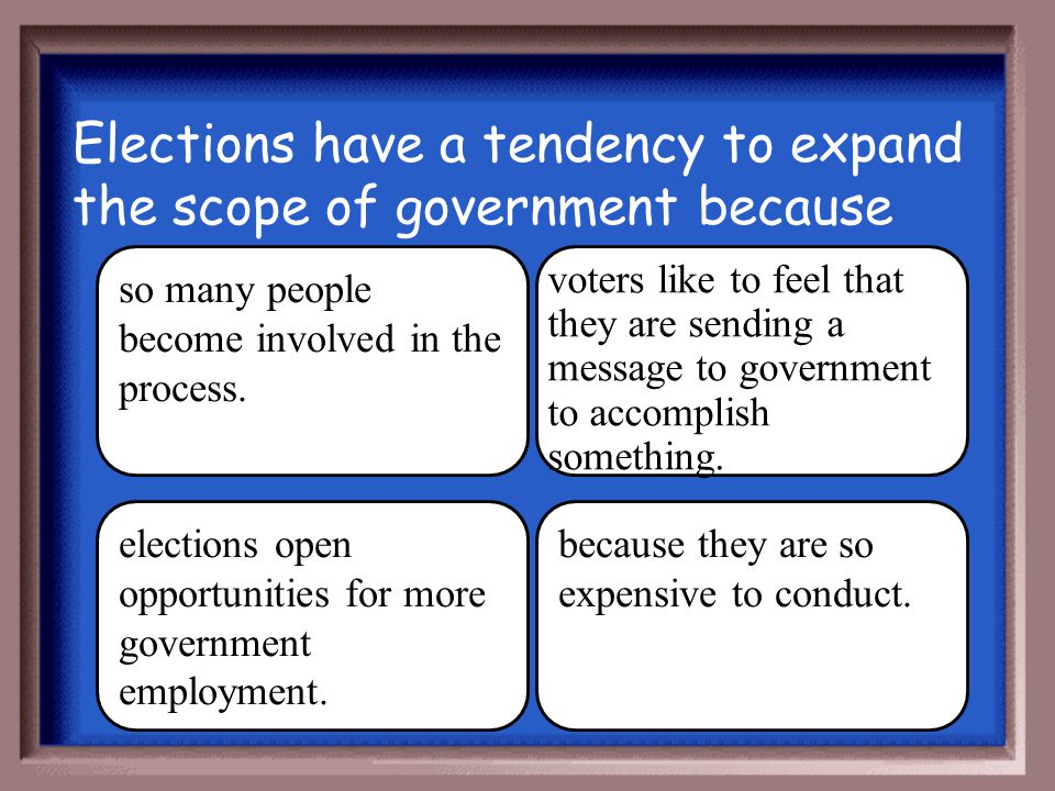Elections have a tendency to expand the scope of government because