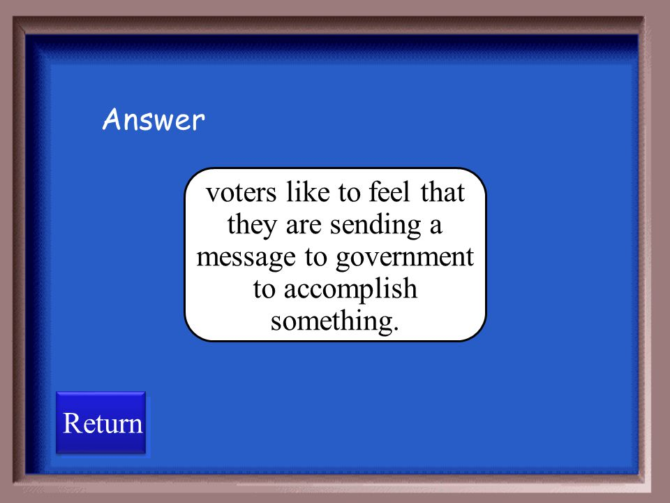 Answer voters like to feel that they are sending a message to government to accomplish something.
