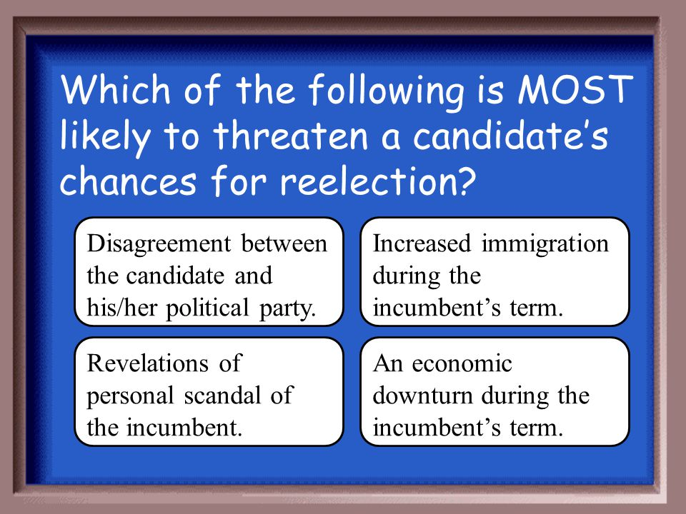 Which of the following is MOST likely to threaten a candidate's chances for reelection