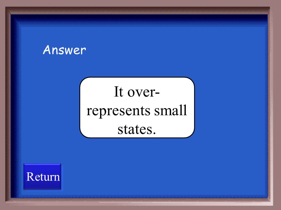 It over-represents small states.