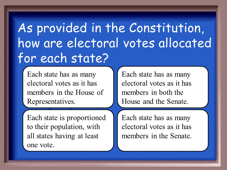 As provided in the Constitution, how are electoral votes allocated for each state