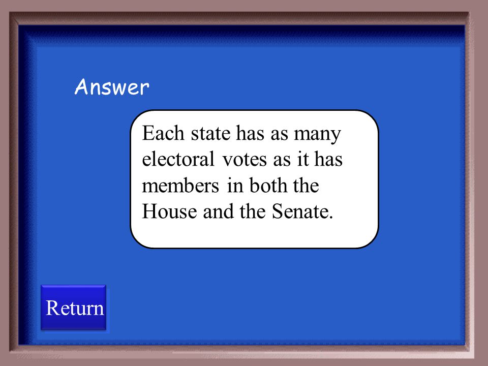 Answer Each state has as many electoral votes as it has members in both the House and the Senate.