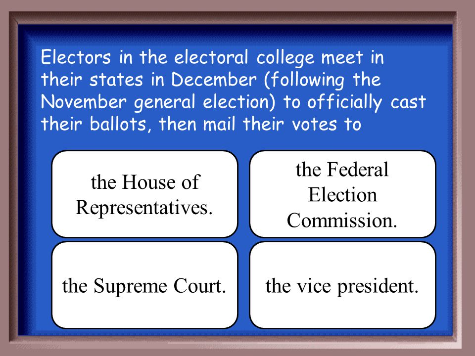 the House of Representatives. the Federal Election Commission.