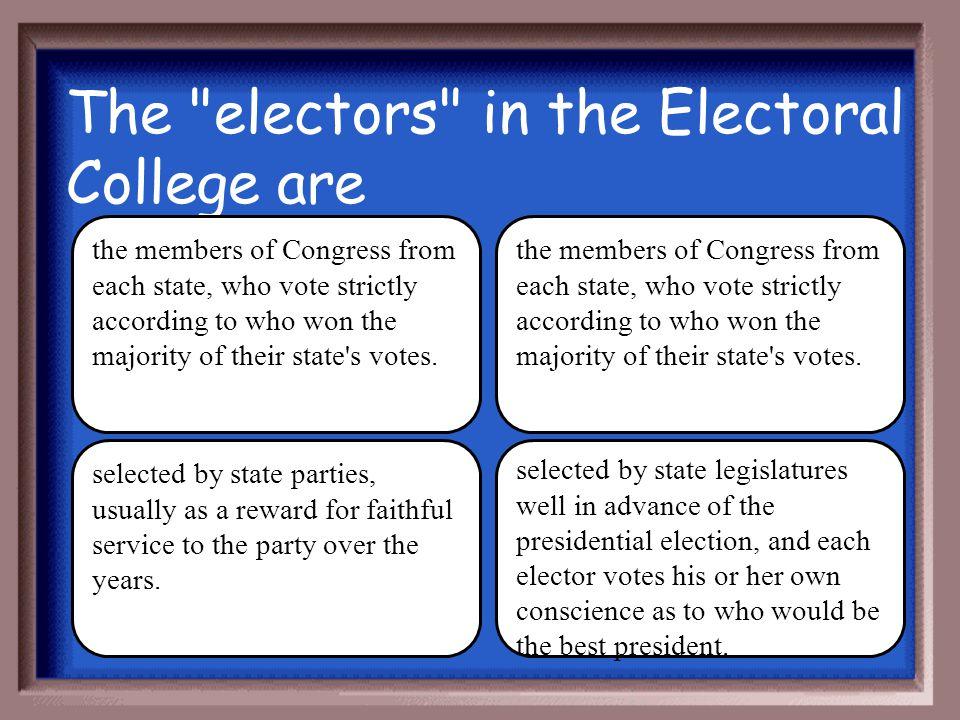 The electors in the Electoral College are