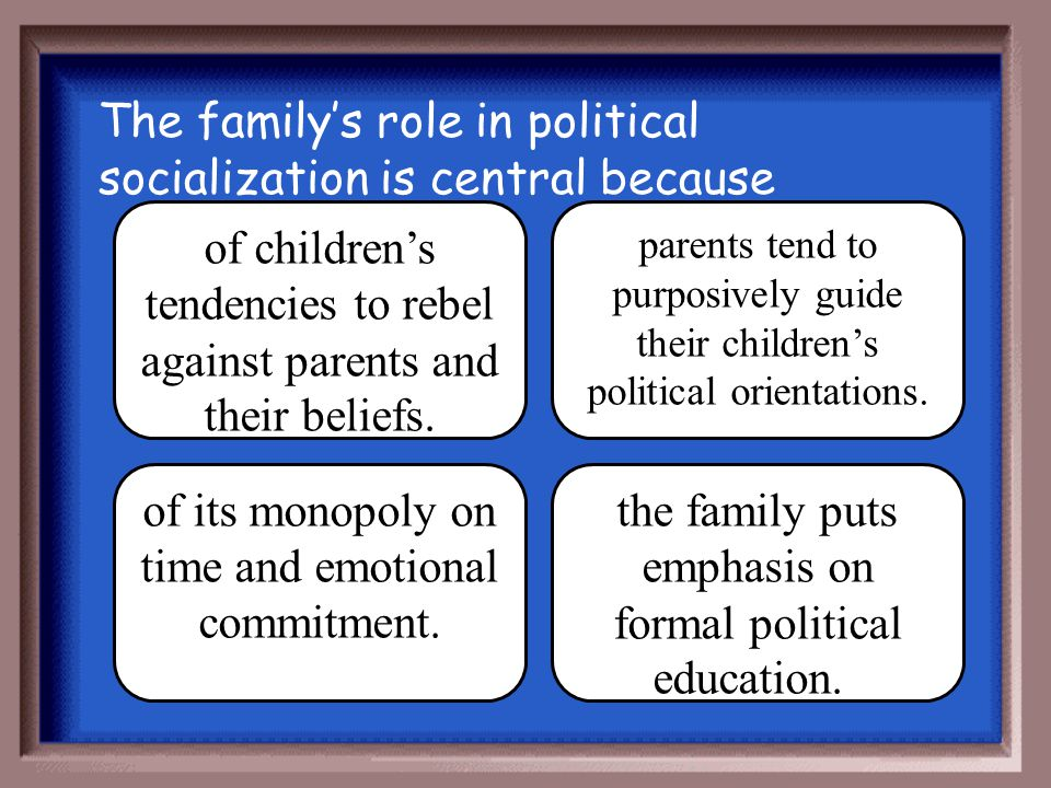 The family's role in political socialization is central because