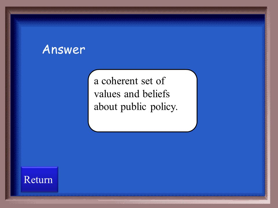 Answer a coherent set of values and beliefs about public policy.