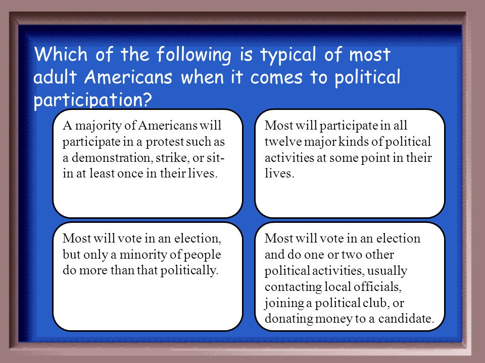 Which of the following is typical of most adult Americans when it comes to political participation