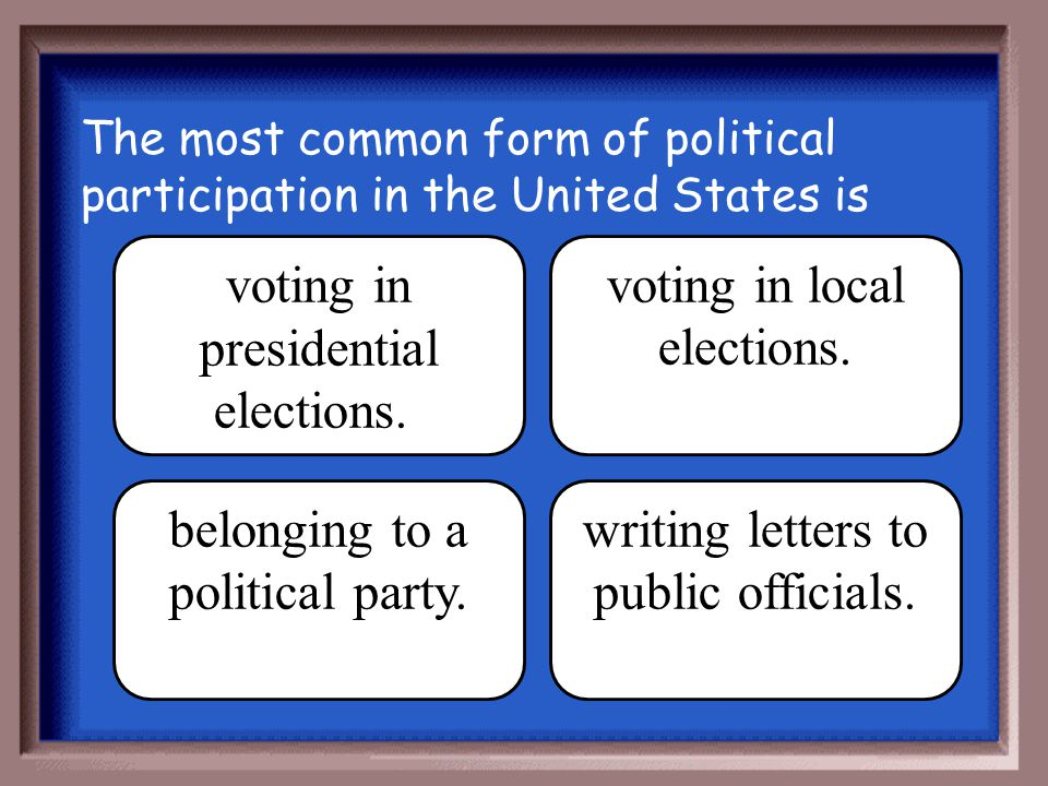 voting in presidential elections. voting in local elections.
