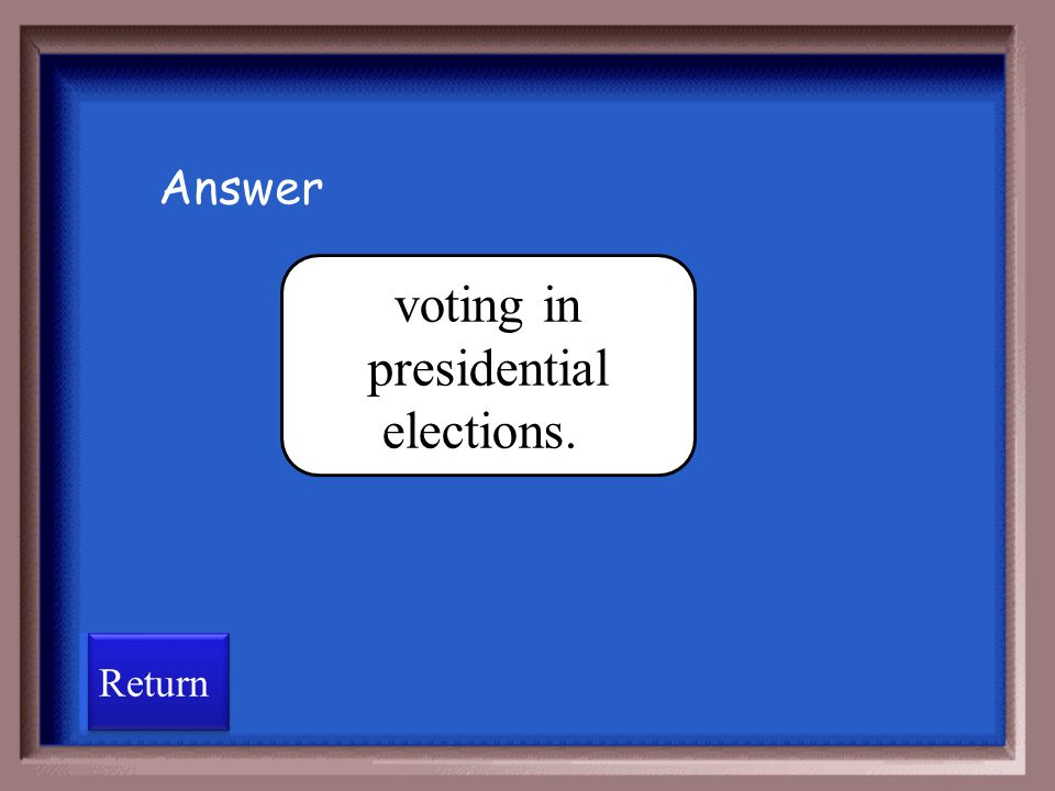 voting in presidential elections.