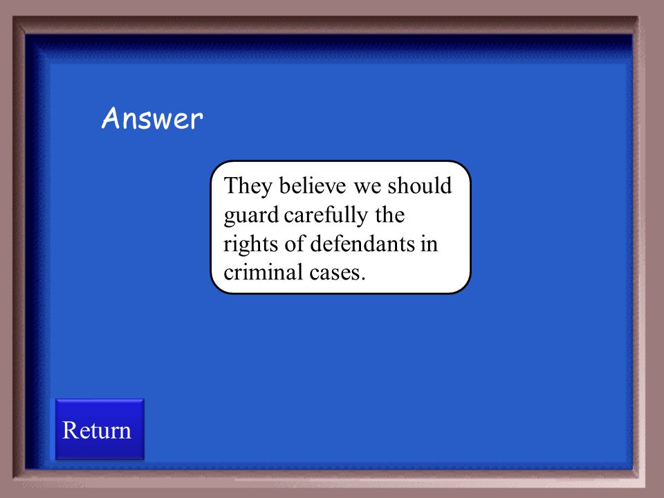 Answer They believe we should guard carefully the rights of defendants in criminal cases. Return