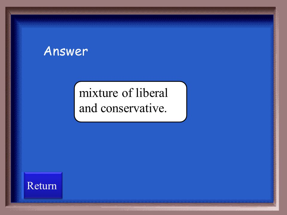 mixture of liberal and conservative.