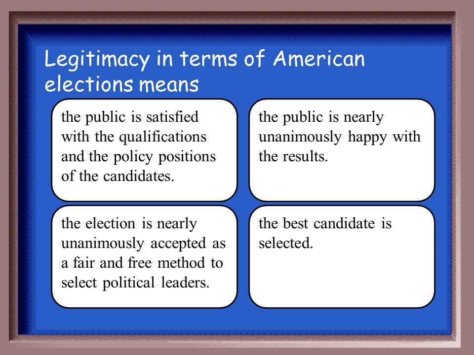 Legitimacy in terms of American elections means