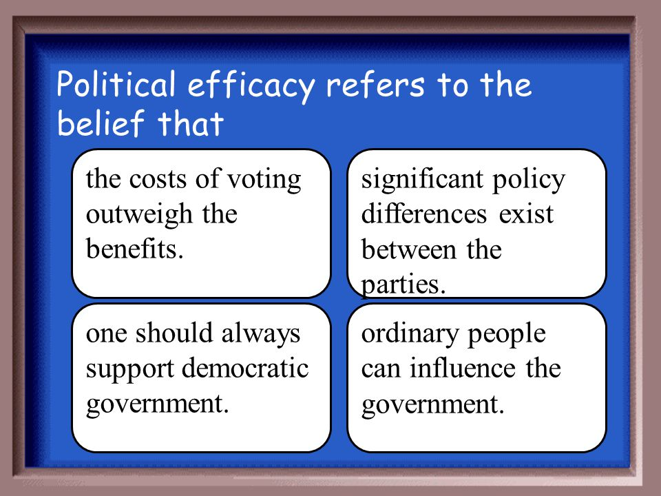 Political efficacy refers to the belief that