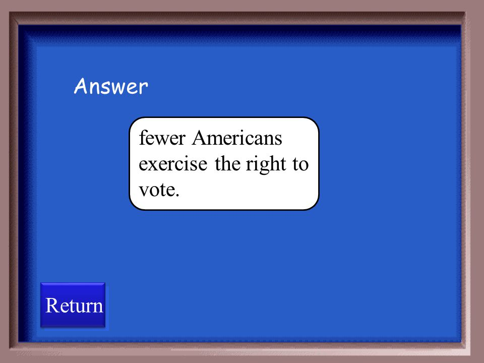 Answer fewer Americans exercise the right to vote. Return