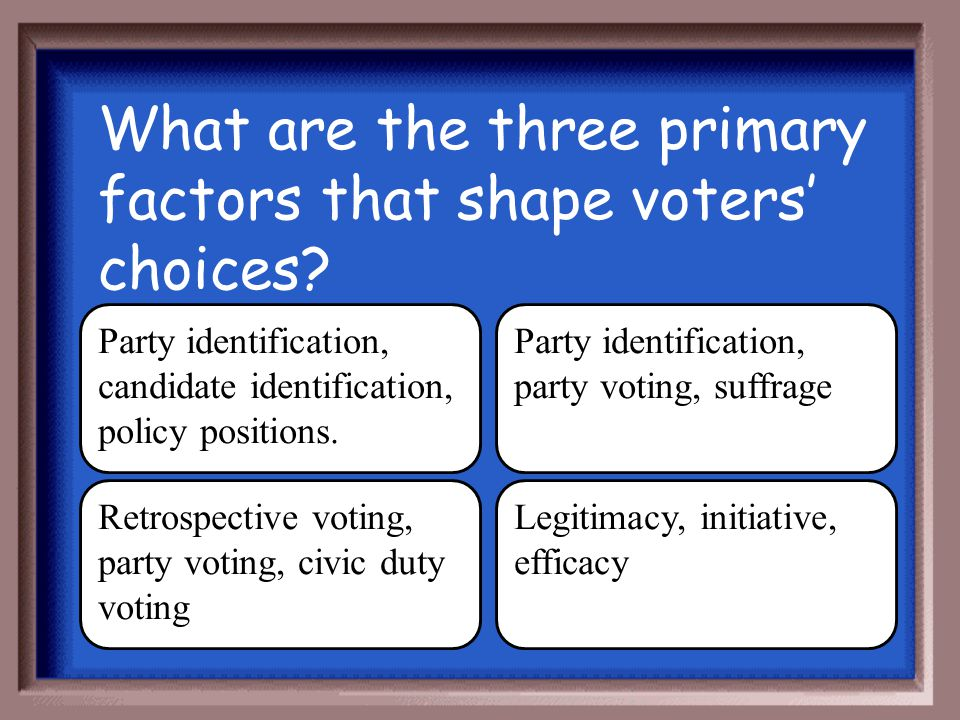 What are the three primary factors that shape voters' choices