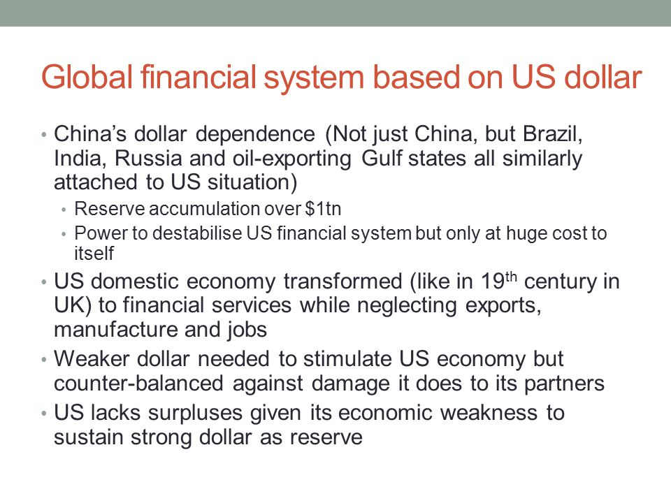 Global financial system based on US dollar