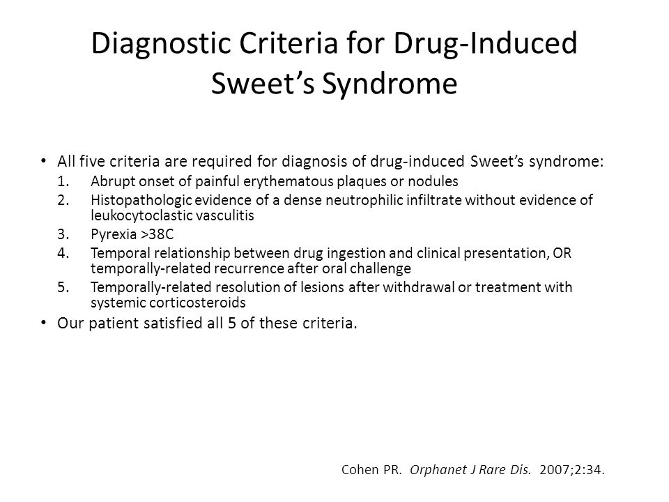 Diagnostic Criteria for Drug-Induced Sweet's Syndrome