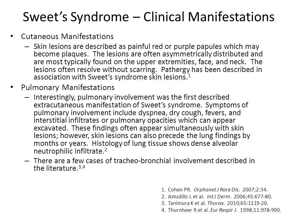Sweet's Syndrome – Clinical Manifestations