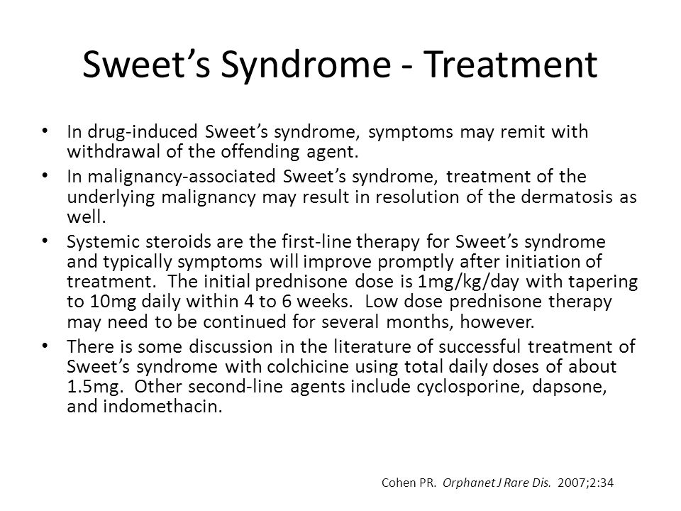 Sweet's Syndrome - Treatment