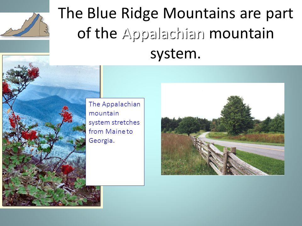 The Blue Ridge Mountains are part of the Appalachian mountain system.