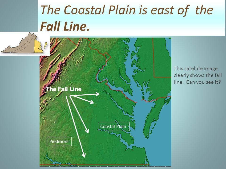 The Coastal Plain is east of the Fall Line.