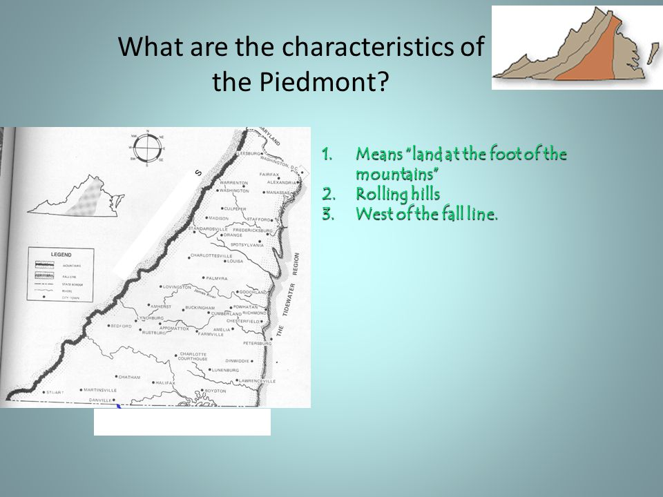 What are the characteristics of the Piedmont