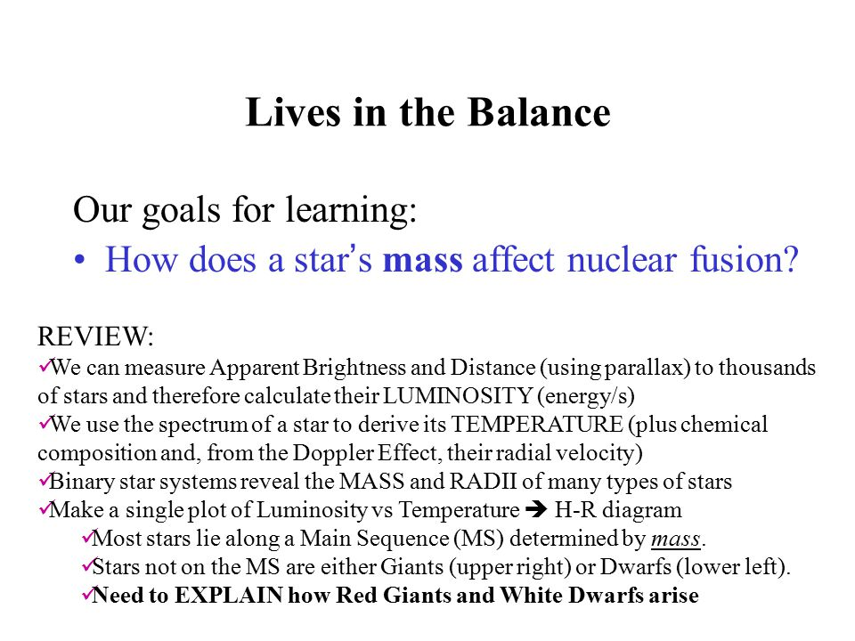 Lives in the Balance Our goals for learning: