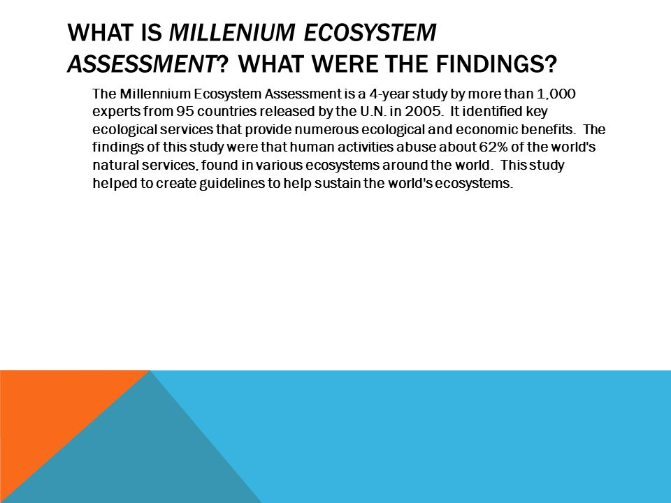 What is millenium ecosystem assessment What were the findings